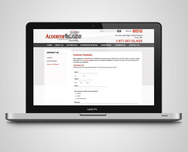 Alderfer Glass website laptop