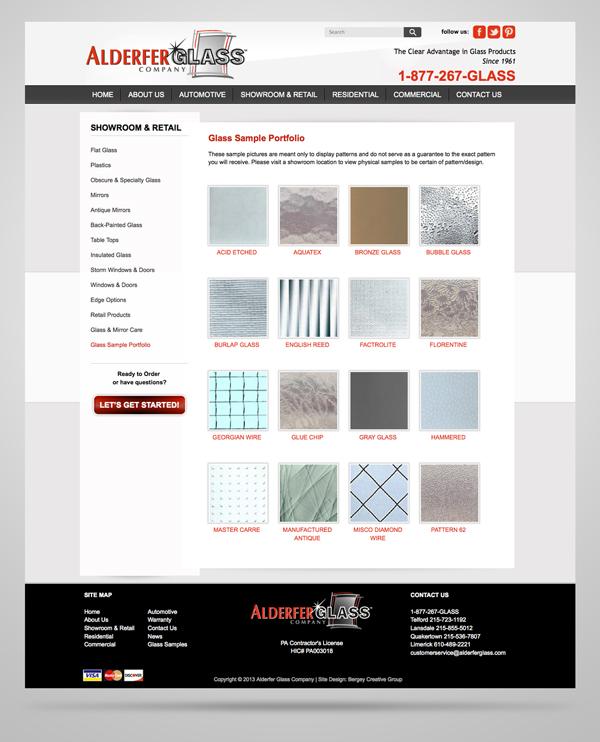 Alderfer Glass website page